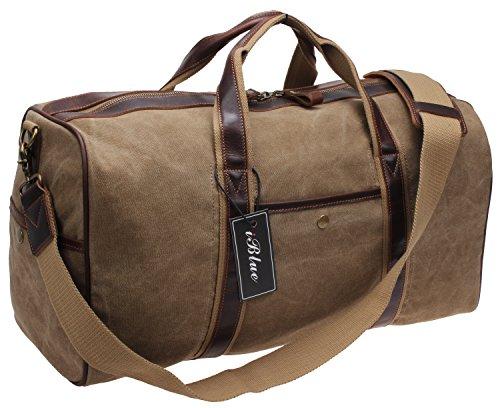 Iblue Canvas Weekender Duffel Tote Leather Trim Travel Luggage Sports Gym Bag 21in #i521 (XL, khaki) by iblue