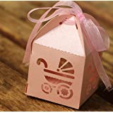 50PCS Laser Cut Baby Shower Party Birthday Decorations Gift Boxes Wedding Favor Ribbons Candy Boxes(Baby Carriage Pink)