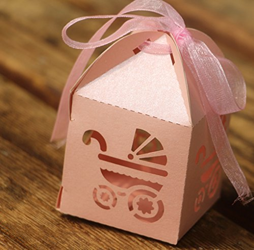 50PCS Laser Cut Favor Boxes, 2''x2''x2''Party Boxes with 50 Ribbons for Baby Shower Favors Baptism (Shower Favor Boxes)