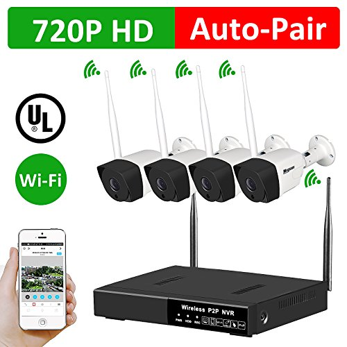 4CH Wireless Security Camera System - 1080P HDMI NVR, 4 x 720P HD Indoor/Outdoor Wireless Cameras Night Vision Auto Pair - WiFi Easy APP Installation No Video Cables Needed Without HDD For Shop Home (Outdoor Installation Kit)