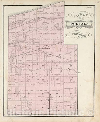 Historic 1876 Map | Illustrated Historical Atlas of Porter County, Indiana. | Map of Portage Township | Hardesty's Atlas of Porter Co, Indiana 36in x 44in