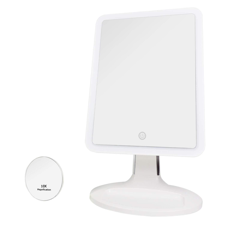 Auxmir Kosmetikspiegel Beleuchtet mit 2X Vergrößerung, Ultra großer beleuchter Tischspiegel Schminkspiegel LED Rasierspiegel Schminkspiegel für Schminken, Rasieren und Gesichtspflege, Weiß