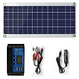 Solar Panel 25W 18V 12V Bendable Flexible,Solar Car Battery Charger Maintainer Portable Trickle Charger with Cigarette Lighter Plug,Charging Clip Line for Motorcycle RV Boat with 10A Charge Controller