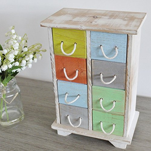 Best Value Here Small White Frame Shabby Chic Style Wooden 8 Drawer Storage Cabinet Jewellery Box Chest Unit