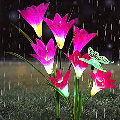Outdoor Solar Garden Stake Lights- Solar Lights Outdoor, 2 Pack Solar Flower Lights with 7 Lily Flower and 1 Butterfly, Multi-Color Changing LED Landscape Decorative Lights for Garden, Patio, Backyard