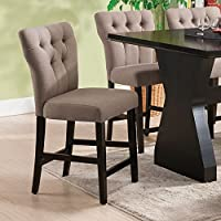 ACME Effie Light Brown Linen Counter Height Chair Set of 2