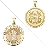 Saint Christopher Doubledside COAST GUARD Religious Medal 1 Inch Solid 14K Yellow Gold