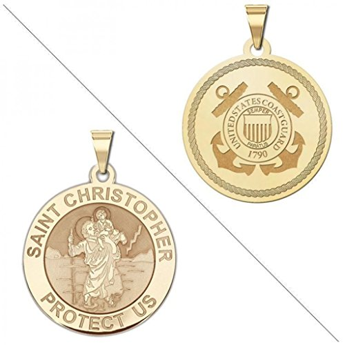 Saint Christopher Doubledside COAST GUARD Religious Medal 1 Inch Solid 14K Yellow Gold by PicturesOnGold.com
