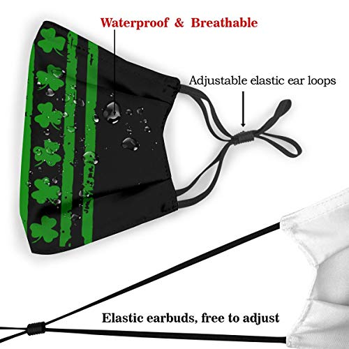 St Patricks Day Shamrock Irish American Flag Dust Mask with 2Pcs Filters,Anti Dust Mouth Mask,Reusable Face Mask Black