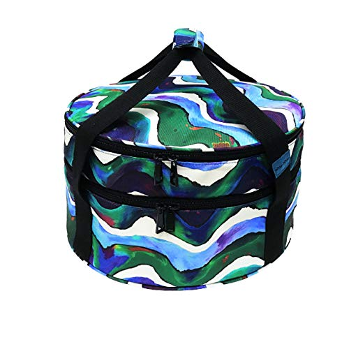 Casserole Carrier (Round), Casserole Carrying Case, Pie Carrier, Insulated Potluck Dish Carrier, Thermal Picnic Bag for Cold & Hot Food, Dessert (Double Decker)