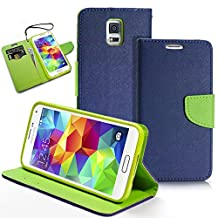 Galaxy S5 Case, MagicMobile® Hybrid PU Leather Flip Cover Case [Heavy Duty] for Samsung Galaxy S5 Folio [Wallet] Protective Case with Foldable Back Stand Cover (Navy Blue)