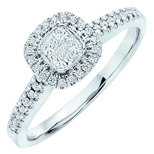 Halo de diamants 0,50carat Princesse Bague de Fiançailles en Or Blanc