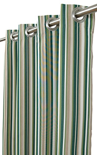 India House Sunbrella Outdoor/Indoor Curtain Panel Catalina Cilantro with 8 Stainless Steel Grommet, 50″ by 84″