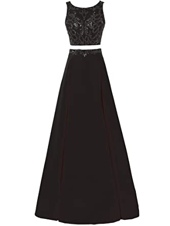 Solovedress Womens Beaded Two 2 Pieces Long Prom Dress Satin Evening Gown Party Bridesmaids Dress (