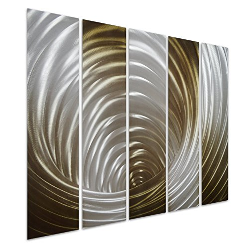 Pure Art Vortex in Bronze - Abstract Metal Wall Art Decor - Bronze Hanging Sculpture of 5 Small Panels - Modern Decoration Design of 34