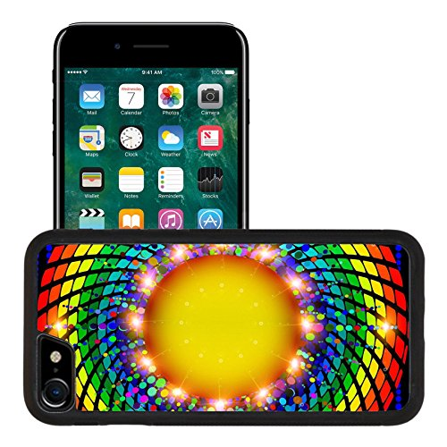 Liili Apple iPhone 7 iPhone 8 Aluminum Backplate Bumper Snap iphone7/8 Case illustration abstract background with round rays spectrum ()