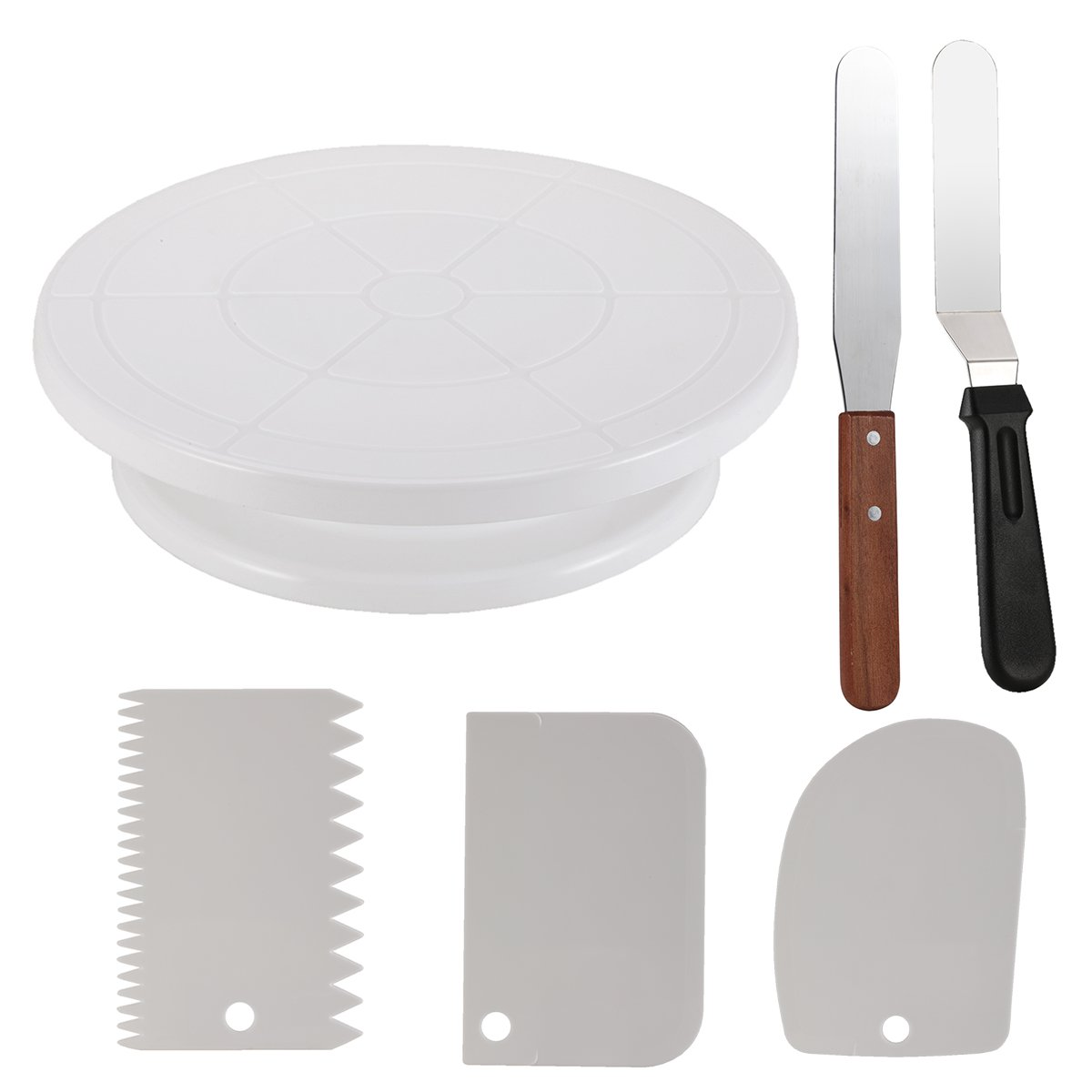 Cake Decorating Turntable,Thsinde Cake Decorating Supplies With Decorating Comb/Icing Smoother(3pcs),2 Icing Spatula With Sided & Angled