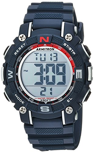 Armitron Sport Unisex 45/7099NVY Digital Chronograph Navy Blue Resin Strap Watch ()