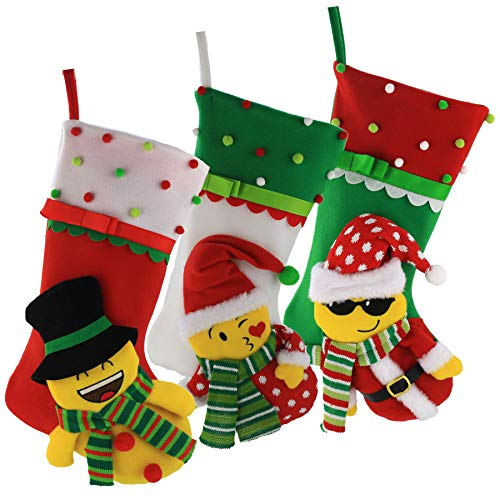 Bstaofy Wewill Christmas Stockings Emoji 3D Design Cute Santa Snowman Set of 3 Pcs Facial Character Xmas Decorations Party Favor for Family, 16.5 inch (Christmas Stocking Funky)