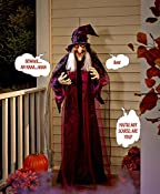 "Up the spook factor for trick-or-treaters with this 71"" Hanging Talking Witch. She features sound- or touch-activated sayings and noises as well as flashing red eyes. Pose her arms in any position, and let her dress flow in the breeze. Best indoors o..."