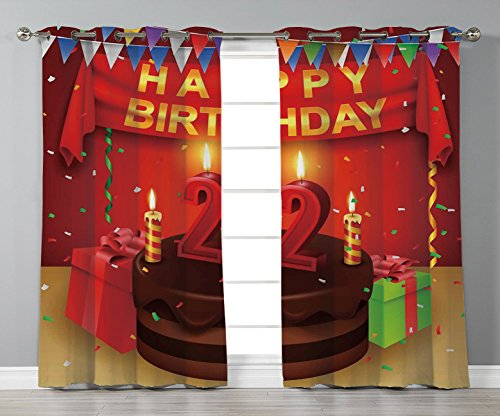 Thermal Insulated Blackout Grommet Window Curtains,22nd Birthday Decorations,Cake