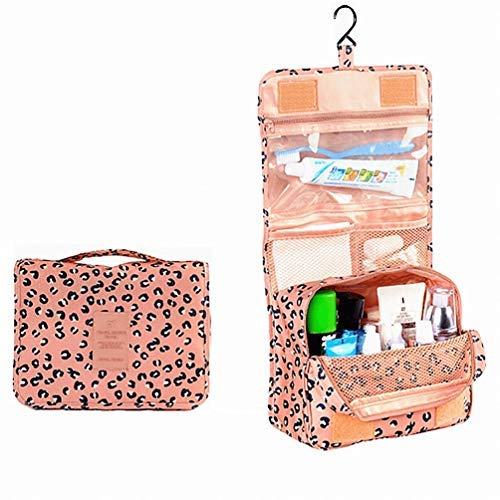 L FY Multifunction Portable Travel Toiletry Bag Cosmetic Makeup Pouch Toiletry Case Wash Organizer Pink Leopard Print