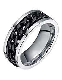 Jimall 8mm Masculine Cuban Link Middle Chain Revolvable Rotating Spinner Ring