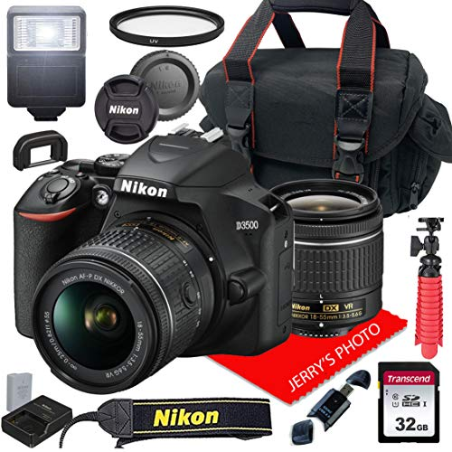 Nikon D3500 W/AF-P DX NIKKOR 18-55mm f/3.5-5.6G VR + Case + 32GB SD Card (15pc Bundle)