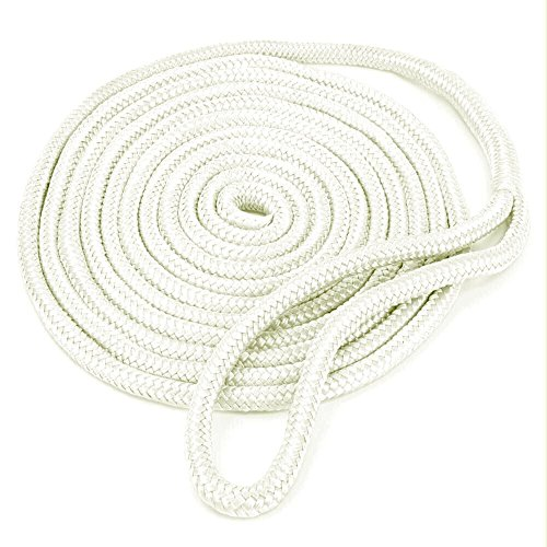 Amarine Made 3/4 Inch 25 FT Double Braid Nylon Dockline Dock Line Mooring Rope Double Braided Dock Line (White)