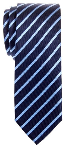 (Retreez Thin Regimental Striped Woven Microfiber Skinny Tie - Navy Blue with Light Blue Stripe)