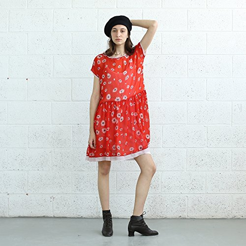 DAISY PRINT DRESS, Red dress. by Naftul