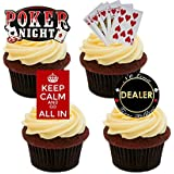 Poker Night Edible Cupcake Toppers - Stand-up Wafer Cake Decorations by Made4You