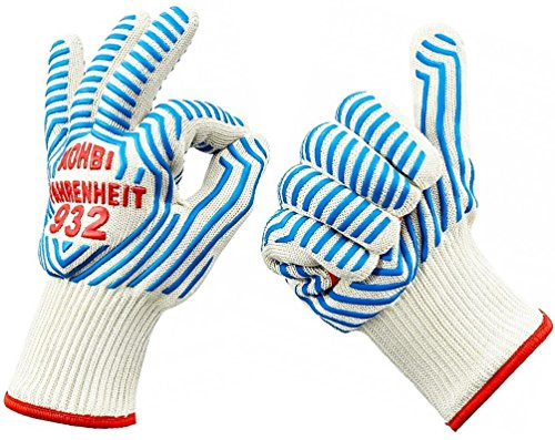 Cooking Gloves - Heat Resistant Gloves - use as Pot Holders, BBQ Gloves, Oven Mitts - Kohbi(R) Fahrenheit 932 Set of 2 Gloves - Premium Protection Certified at 932 Degrees F - Small (Small Oven Mitt compare prices)