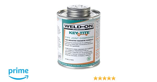 Weld-On 10064 Green Tite 505 Key Metal Pipe Threas Sealant with Brush in Cap Applicator, 1 pint Can: Amazon.com: Industrial & Scientific