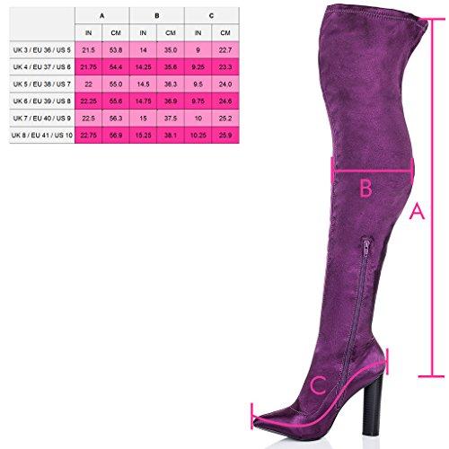 SPYLOVEBUY VAGAS Mujer Tacón Bloque Botas mosqueteras Púrpura - Satén Sintética Lycra