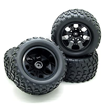 12mm Hub Wheel Rim and Tires 1:10 Off-Road RC Car Buggy Tyre with Foam Inserts Black Pack of 4: Toys & Games