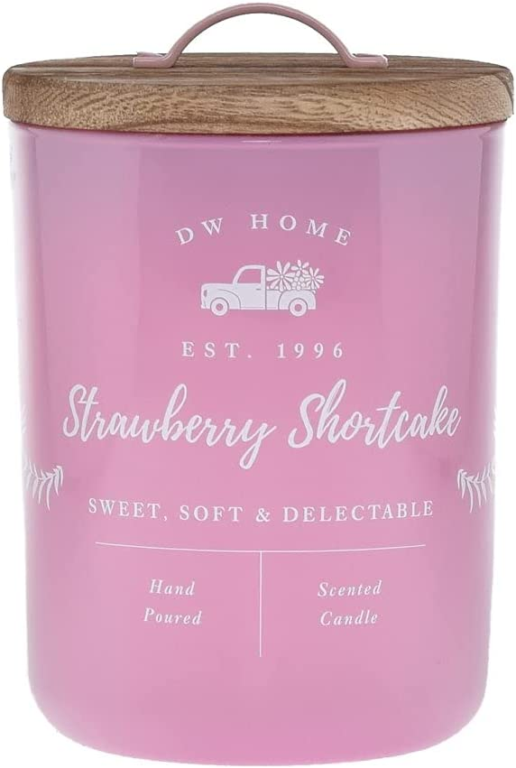 DW Home Hand Poured Richly Scented Strawberry Shortcake Medium Single Wick Candle