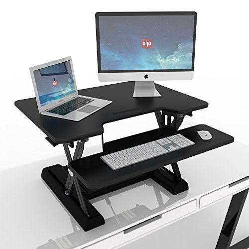 OLLO: Variable height, sit-stand workstation with gas spring power, 30'' wide, 4.4-17.5'' lift (OD-30 Black) by OLLO (Image #2)