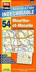 Meurthe-et-Moselle (54). Carte Départementale, Administrative et Routière (échelle : 1/180 000)