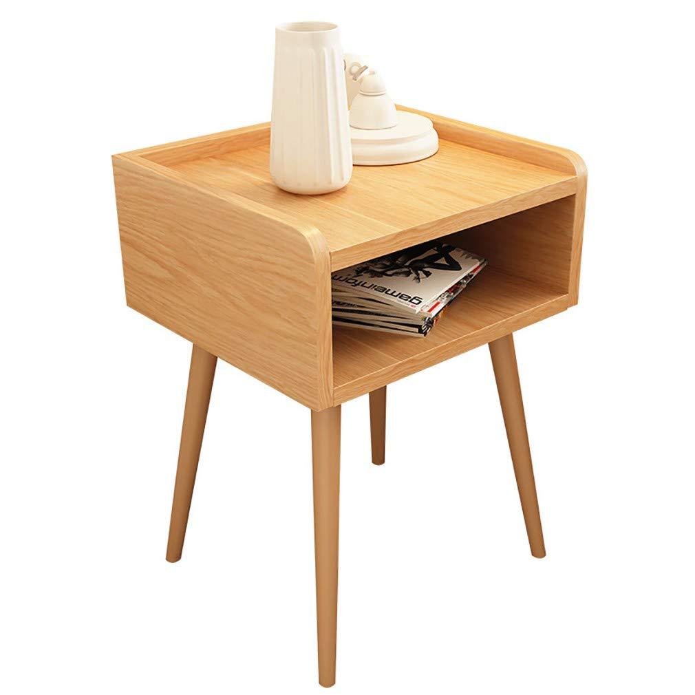 GYTOO Massivholz Nachttisch Nachttisch Beistelltisch mit Schublade Weißeiche Holztisch für Schlafzimmer Studie und Mode 39 * 39 * 51,5 cm