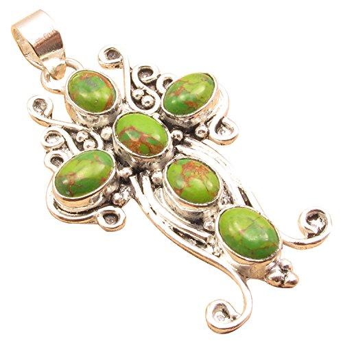 - 925 Silver Overlay DESIGNER CROSS Pendant ! Handmade Indian Fashion Jewlery ! Authentic Gemstones