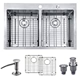 MOWA HTD33DE Upgraded Perfect Drainage Handmade 33' 16 Gauge Stainless Steel Topmount 50/50 Double Bowl Kitchen Sink, Deep Commercial Basin Sink w/Basket Strainer, Sink Grids & Bonus Soap Dispenser