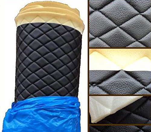 (Vinyl Fabric QUILTED BLACK FOAM BACKING Upholstery / 3/8