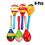 Kids Shaker, Joyibay 6PCS Musical Maraca Wooden Party Educational Sand Hammer for Toddlers (Random Color)