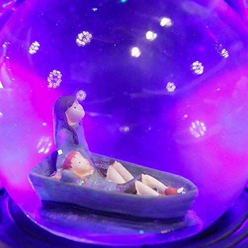 JINGB Home Starry Sky Crystal Ball Music Box Glow Rotating Music Box Birthday Present Interesting Toy
