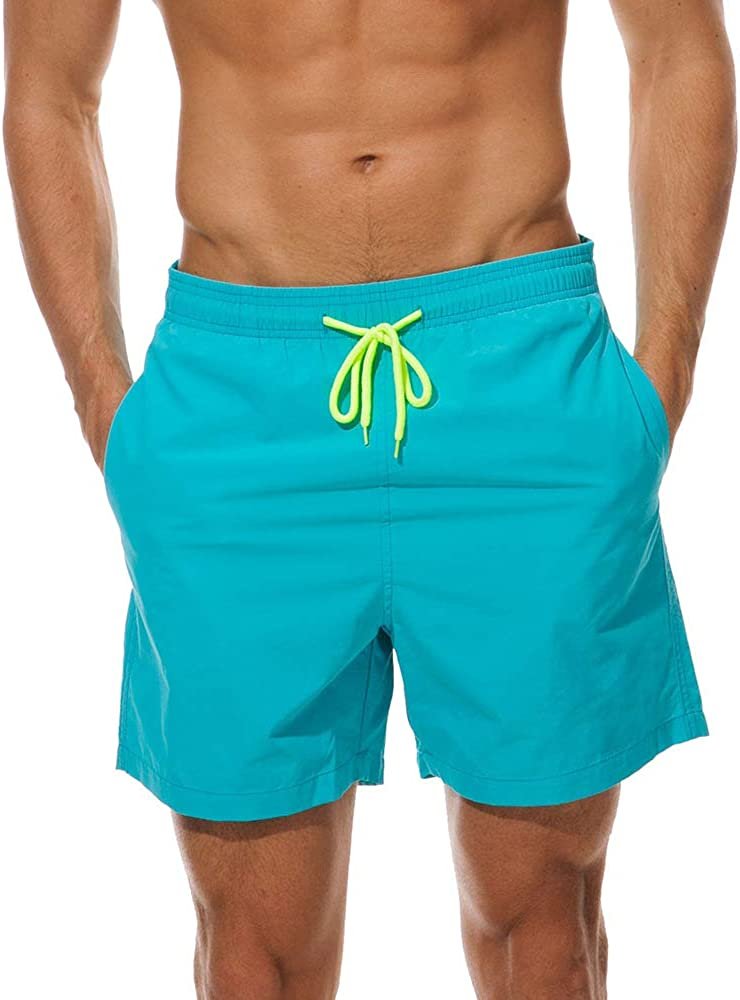 FREDRM Mens Swim Trunks Quick Dry Boardshorts with Mesh Lining Above Knee Swimwear Bathing Suits