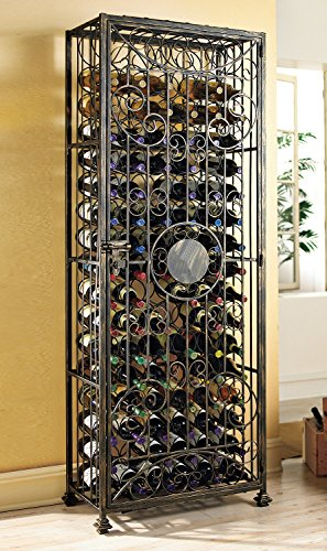 Wine Enthusiast 96 Bottle Antiqued Hinged