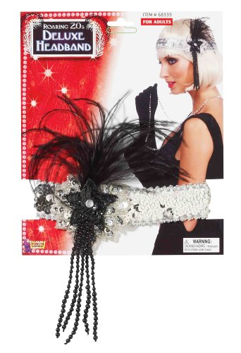 Forum Novelties Roaring 20's Sequin Flapper Headband with Feather, Silver, One Size for $<!--$1.99-->