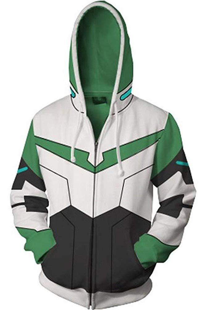 BeautifulTimes Adult Halloween Costume Voltron: Legendary Defender Jacket Cosplay Hoodie Sweatshirt (Green, Medium)