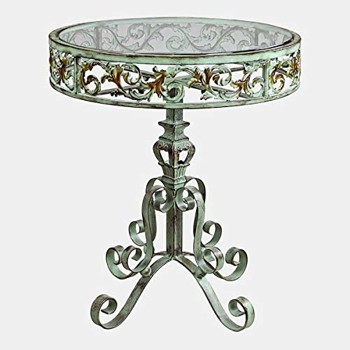 Dark Verdigris Top - Steel Base End Table with